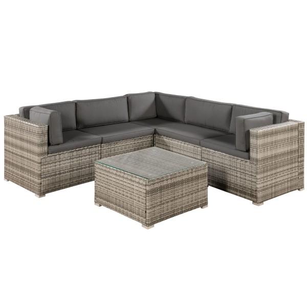 polyrattan lounge sitzgruppe nassau beige grau mit bez gen in dunkelgrau. Black Bedroom Furniture Sets. Home Design Ideas