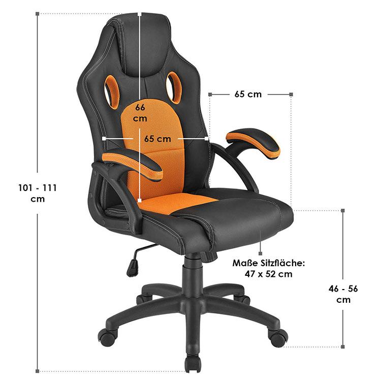 Racing Schreibtischstuhl Montreal - Orange - mit verstellbarer Rückenlehne, gepolsterten Armlehnen und höhenverstellbarer Sitzfläche