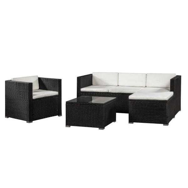 Polyrattan Lounge / Sitzgarnitur Punta Cana L schwarz mit Bezügen in Creme