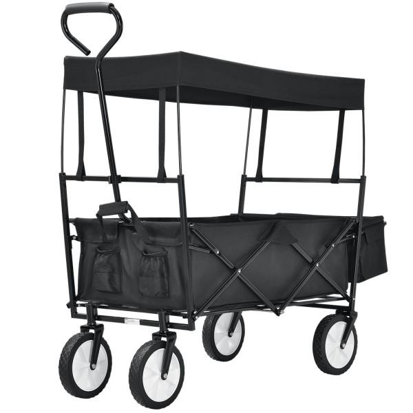 Bollerwagen faltbar mit abnehmbaren Dach und Tasche in schwarz