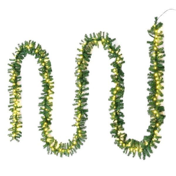 Künstliche Weihnachtsgirlande 10 m in grün mit 200 LED