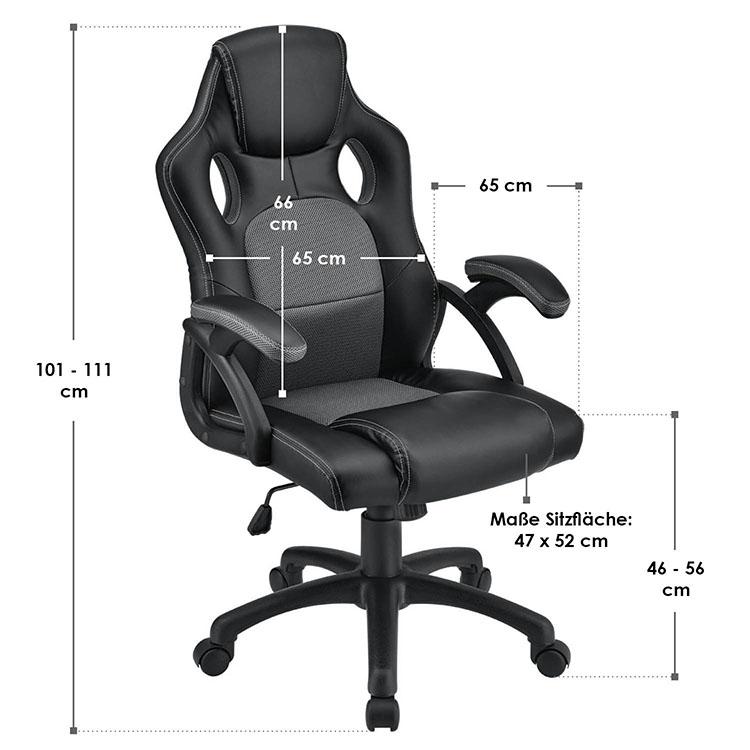 Racing Schreibtischstuhl Montreal - Grau - mit verstellbarer Rückenlehne, gepolsterten Armlehnen und höhenverstellbarer Sitzfläche