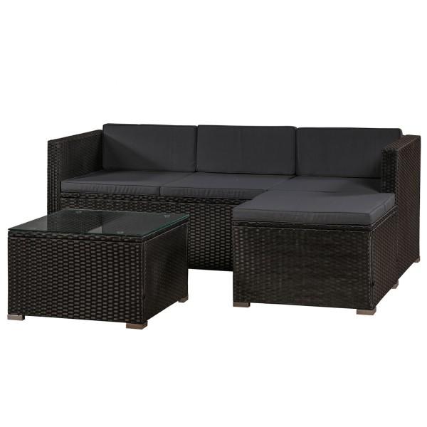 Polyrattan Lounge / Sitzgarnitur Punta Cana M schwarz mit Bezügen in Dunkelgrau
