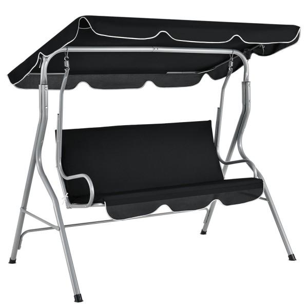 Hollywoodschaukel Cecina 3-Sitzer beschichtetes Stahlgestell in schwarz