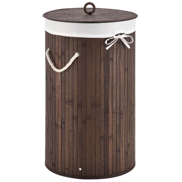 Bambus Wäschekorb Curly-Round braun mit Wäschesack und Tragegriffen
