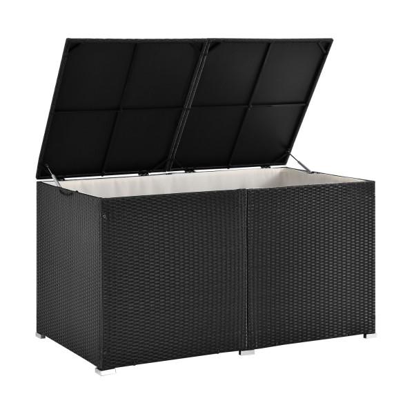 Polyrattan Gartenmöbel Auflagenbox Ikaria mit Innenplane in schwarz