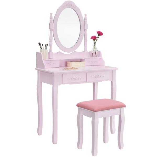 """Schminktisch """"Mira"""" rosa pink mit Spiegel und Hocker"""