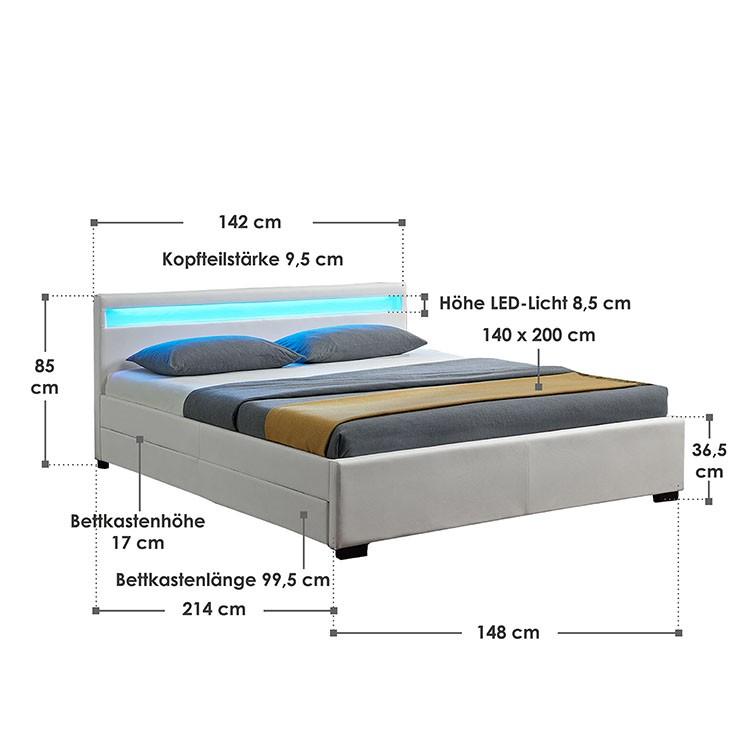 Abmessungsbild Polsterbett Lyon 140x200 cm weiß mit LED-Beleuchtung im Kopfteil, vier ausziehbaren Bettkästen und Lattenrost