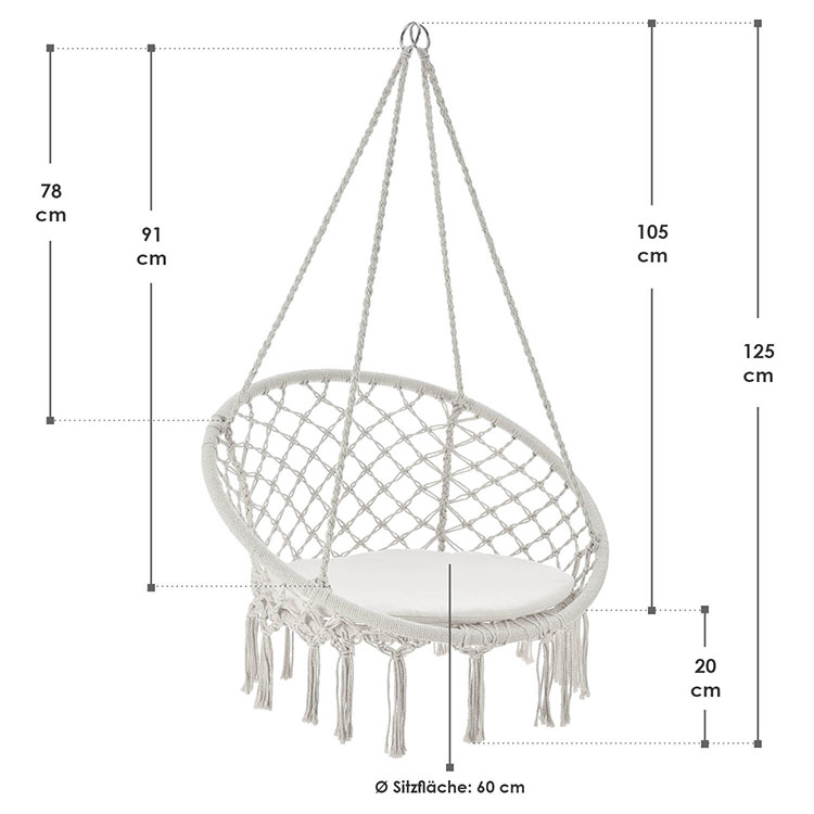 Abmessungen Hängesessel Cadras in Beige mit Sitzkissen