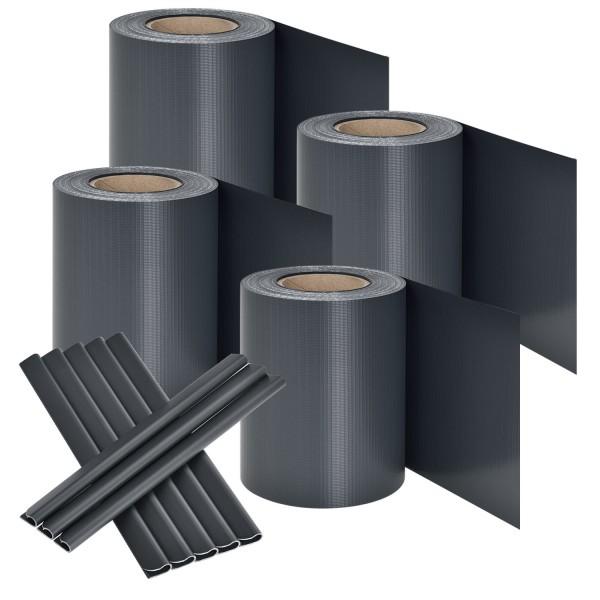 PVC Sichtschutzstreifen 4er Set - anthrazit
