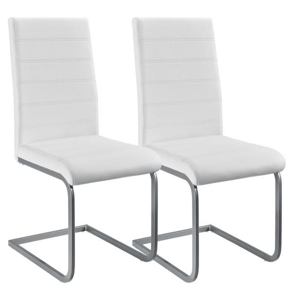 Freischwinger Stuhl Vegas 2er Set aus Kunstleder in weiß