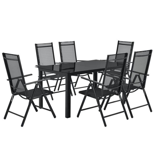Aluminium Gartengarnitur Milano 7-teilig mit Tisch und 6 Stühlen dunkelgrau