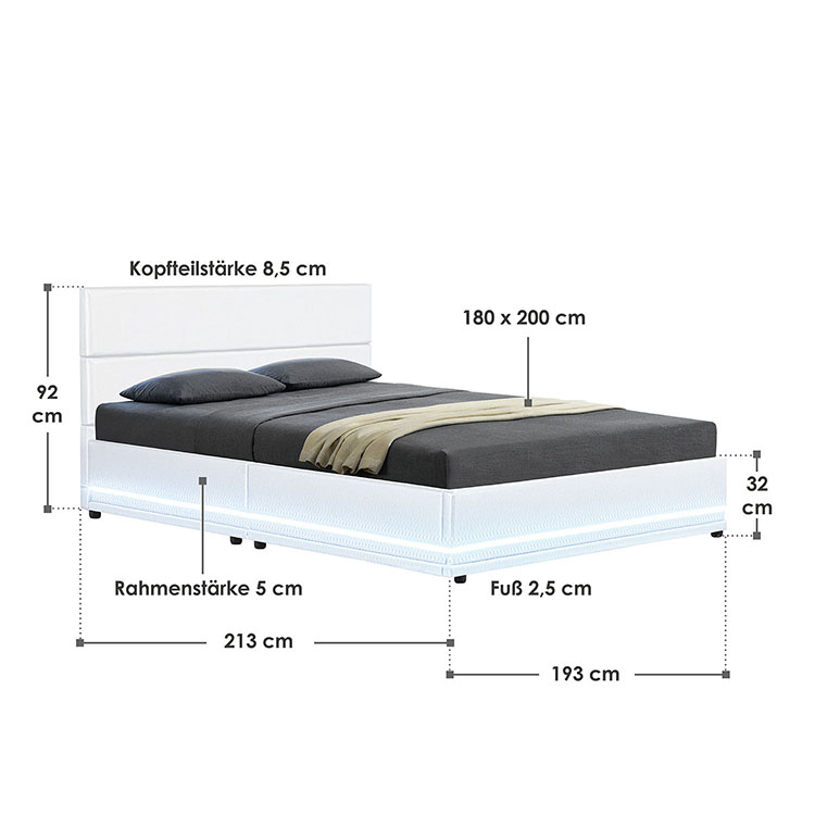 Abmessungsbild Polsterbett Toulouse 180x200 cm weiß mit LED-Beleuchtung, großem Bettkasten & Lattenrost