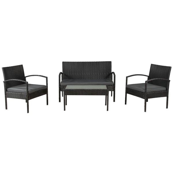 Polyrattan Gartenmöbel Sitzgruppe Trinidad schwarz mit dunkelgrauen Bezügen