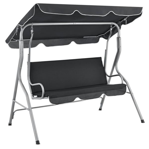 Hollywoodschaukel Cecina 3-Sitzer beschichtetes Stahlgestell in grau