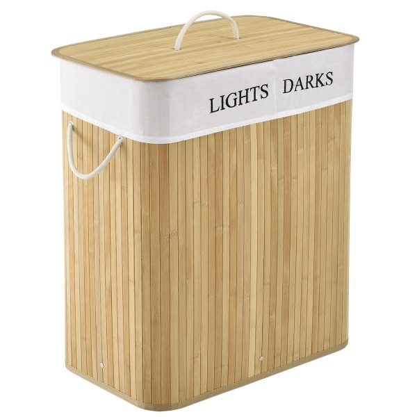 Bambus Wäschekorb Curly 100 Liter natur mit Wäschesack und Tragegriffen