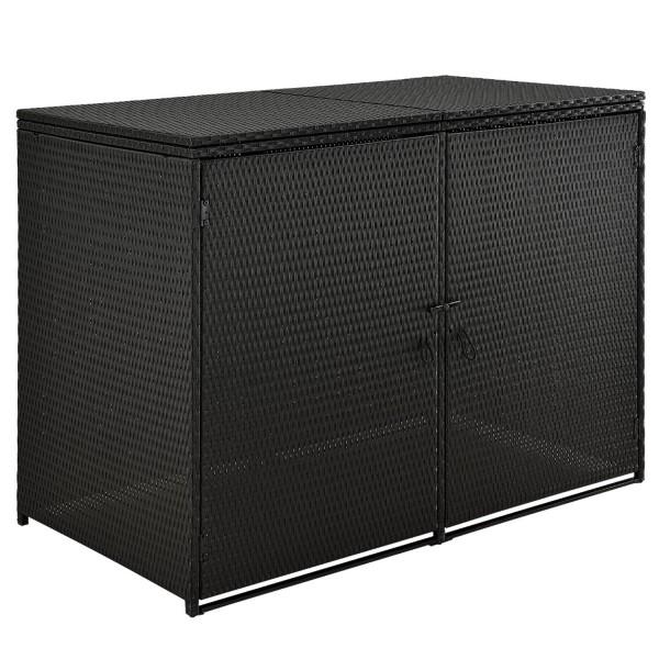 Mülltonnenbox Mol 1,2m² schwarz aus Polyrattan mit 2 abschließbaren Türen