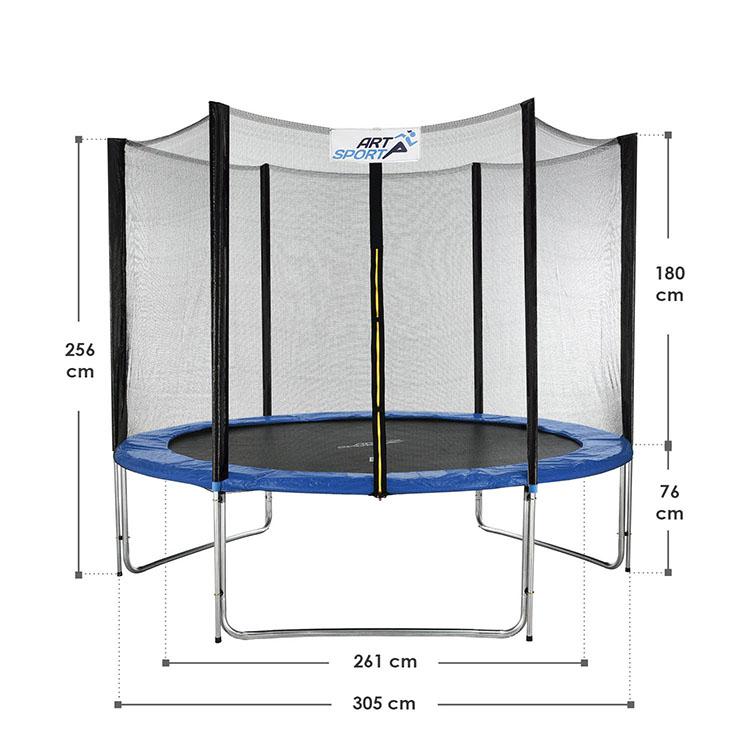Abmessungsbild Trampolin Jampino Ø 305 cm mit Sicherheitsnetz, Randabdeckung und Leiter