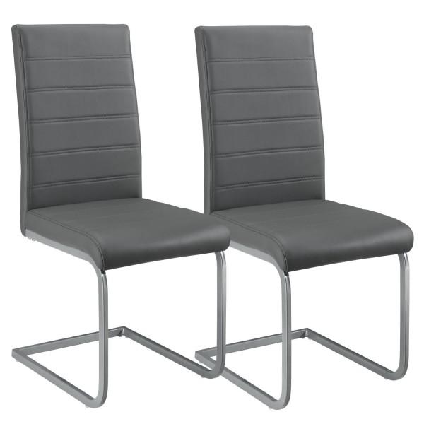 Freischwinger Stuhl Vegas 2er Set aus Kunstleder in grau
