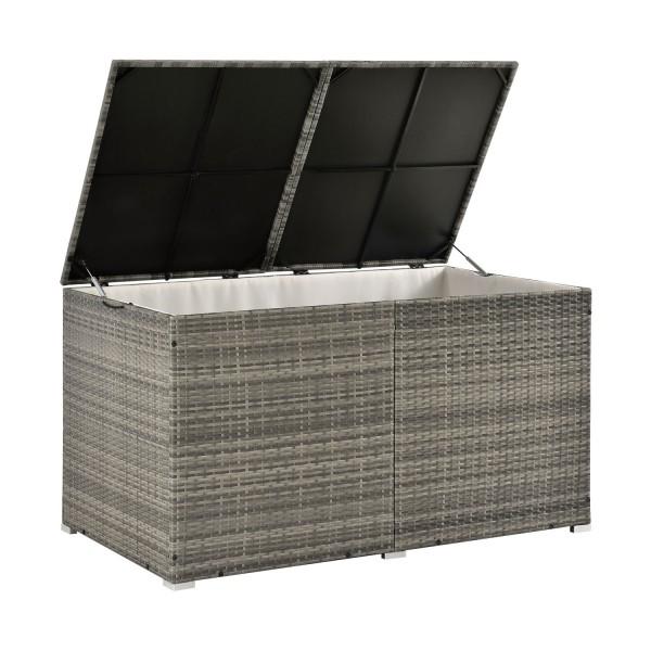 Polyrattan Gartenmöbel Auflagenbox Ikaria mit Innenplane in grau-meliert
