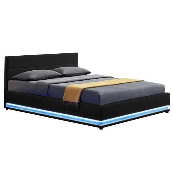 Polsterbett Toulouse 180 x 200 cm mit rundum LED und Bettkasten - schwarz