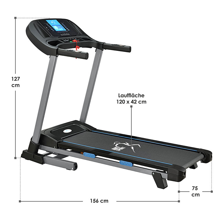 Abmessungen vom motorisierten Laufband Speedrunner SR1620 mit 12 Trainingsprogrammen