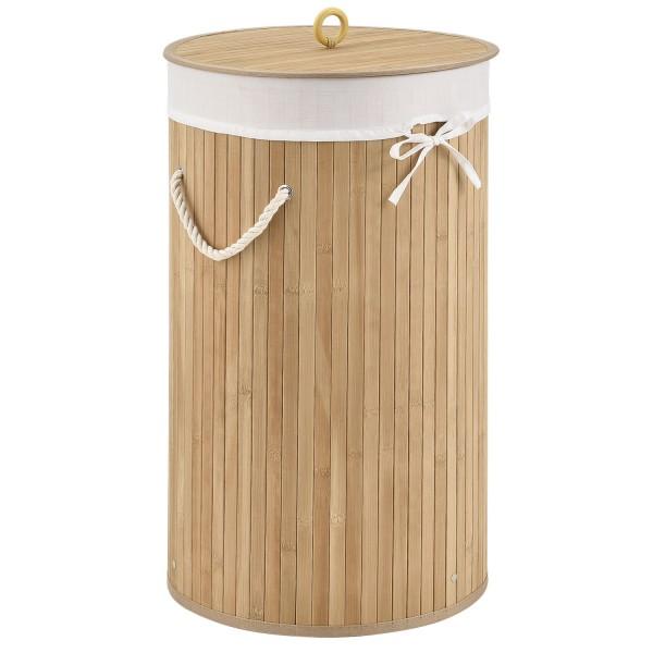 Bambus Wäschekorb Curly-Round natur mit Wäschesack und Tragegriffen