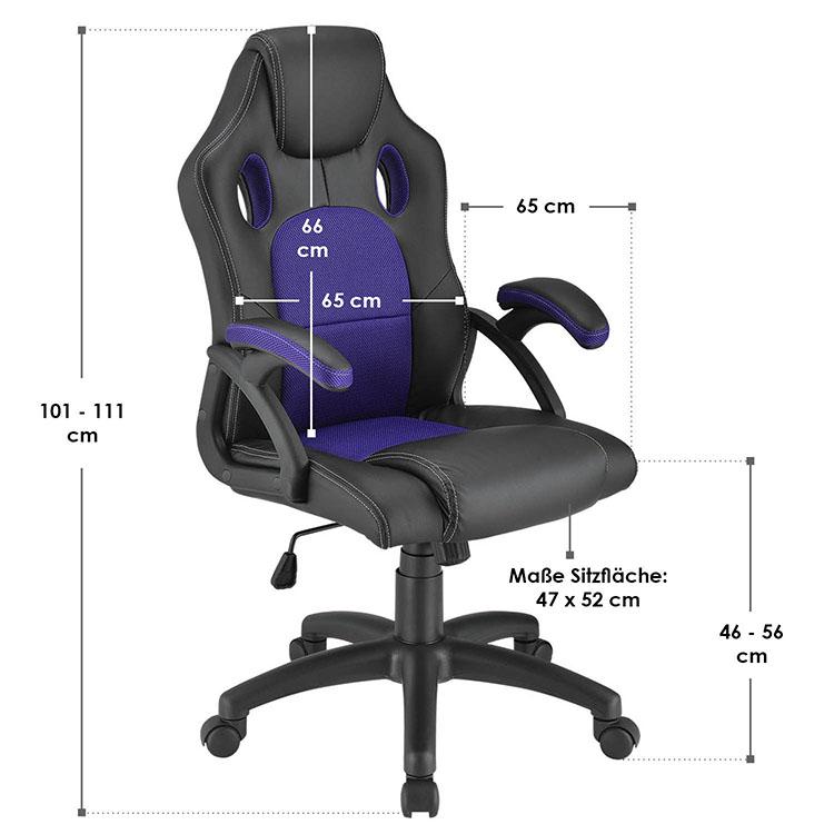Racing Schreibtischstuhl Montreal - Violett - mit verstellbarer Rückenlehne, gepolsterten Armlehnen und höhenverstellbarer Sitzfläche