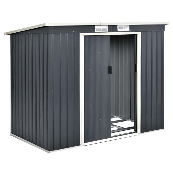 Metall Geräteschuppen Gerätehaus M mit Pultdach in anthrazit