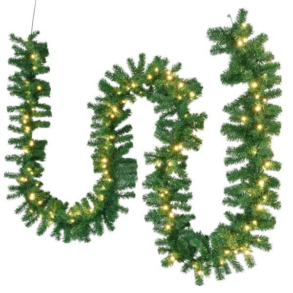 Künstliche Weihnachtsgirlande 5 m in grün mit 100 LED