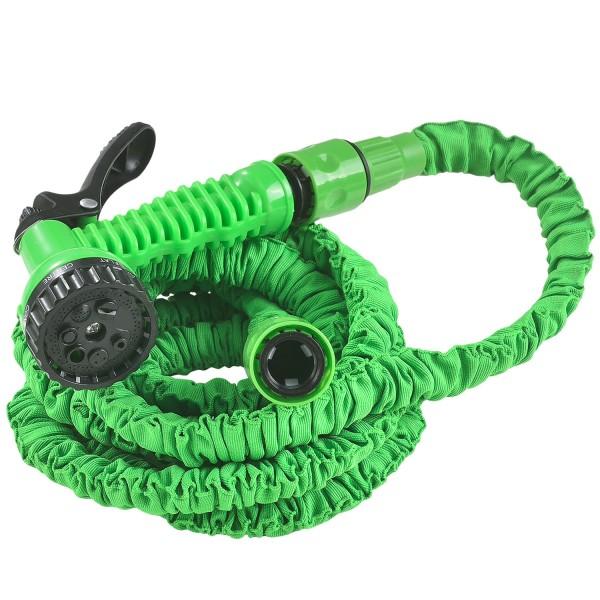 Flexibler Gartenschlauch Aqua 7,5m mit Multifunktionsbrause in grün