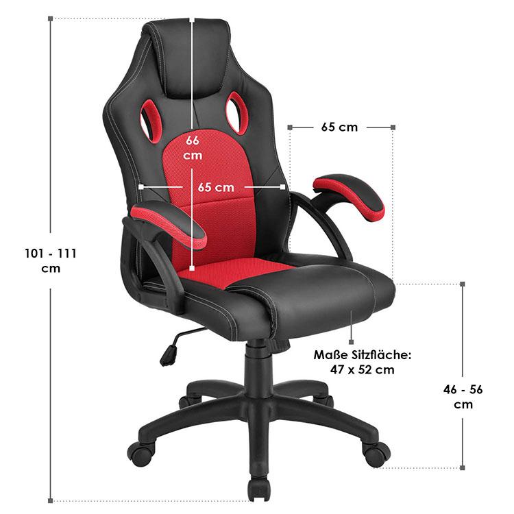 Racing Schreibtischstuhl Montreal - Rot - mit verstellbarer Rückenlehne, gepolsterten Armlehnen und höhenverstellbarer Sitzfläche