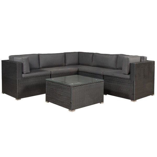 polyrattan gartenm bel lounge sitzgruppe nassau mit bez gen in dunkelgrau juskys. Black Bedroom Furniture Sets. Home Design Ideas