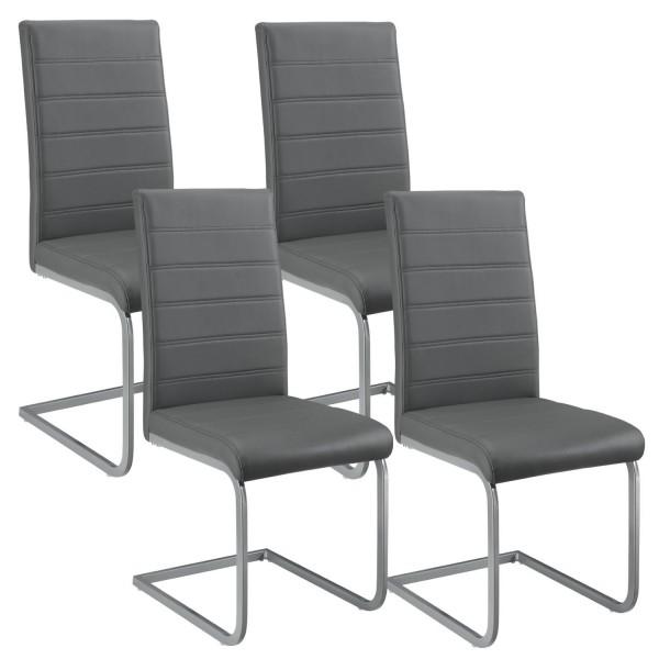 Freischwinger Stuhl Vegas 4er Set aus Kunstleder in grau