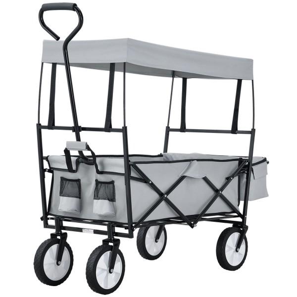 Bollerwagen faltbar mit abnehmbaren Dach und Tasche in grau