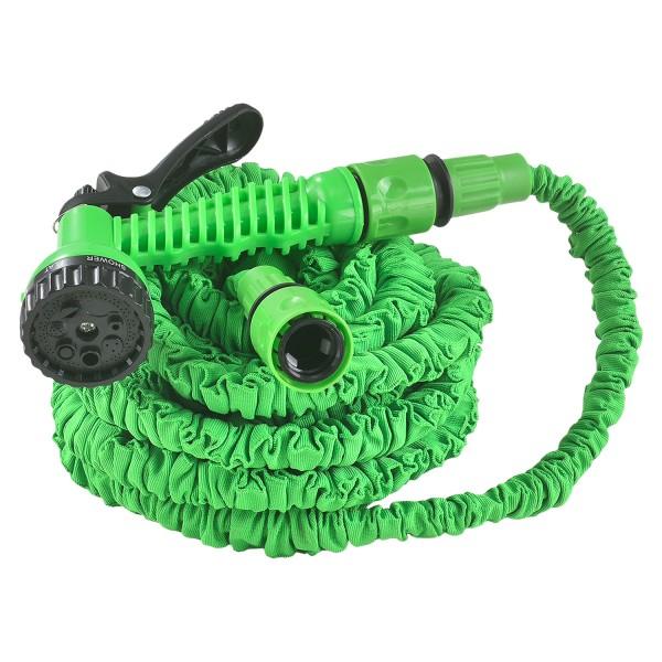 Flexibler Gartenschlauch Aqua 15m mit Multifunktionsbrause in grün