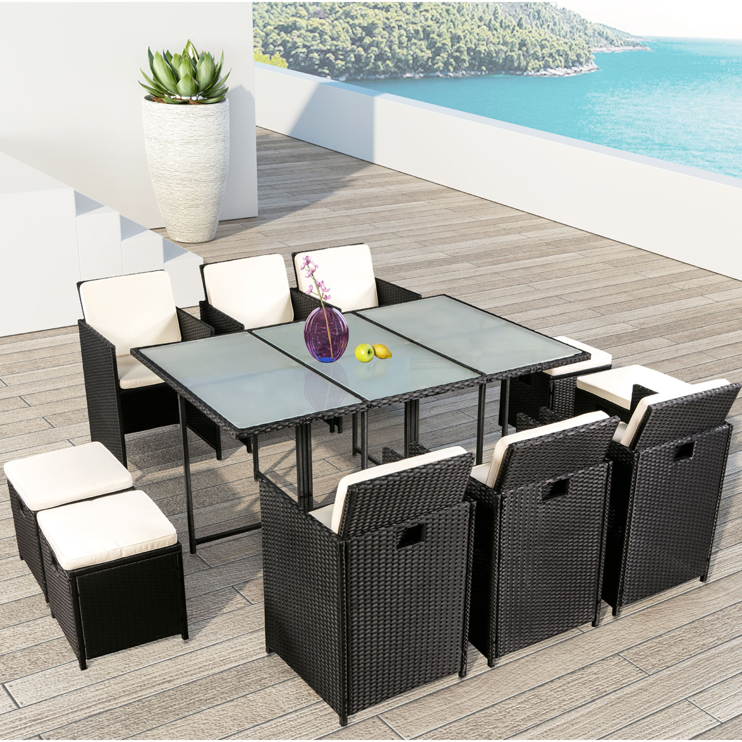 polyrattan essgruppe pico xl f r 6 personen 11 teilig. Black Bedroom Furniture Sets. Home Design Ideas
