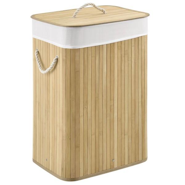 Bambus Wäschekorb Curly 72 Liter natur mit Wäschesack und Tragegriffen