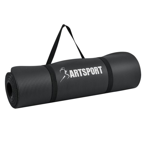 Bodenmatte für Gymnastik, Yoga und Fitness 185 x 60 x 1,0 cm in schwarz