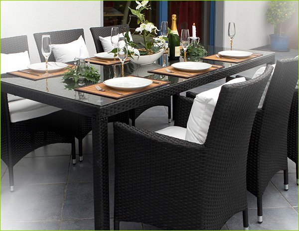 polyrattan essgruppe g nstig online kaufen juskys. Black Bedroom Furniture Sets. Home Design Ideas