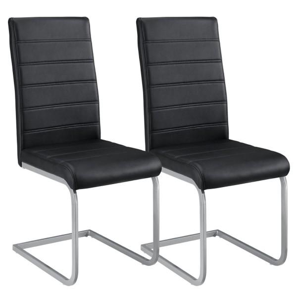 Freischwinger Stuhl Vegas 2er Set aus Kunstleder in schwarz
