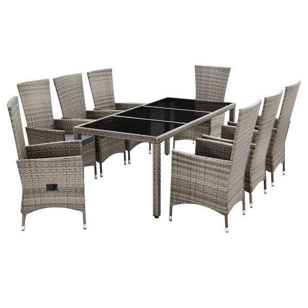 Polyrattan Gartenmöbel Sitzgruppe Rimini Plus grau-meliert & dunkelgraue Bezüge