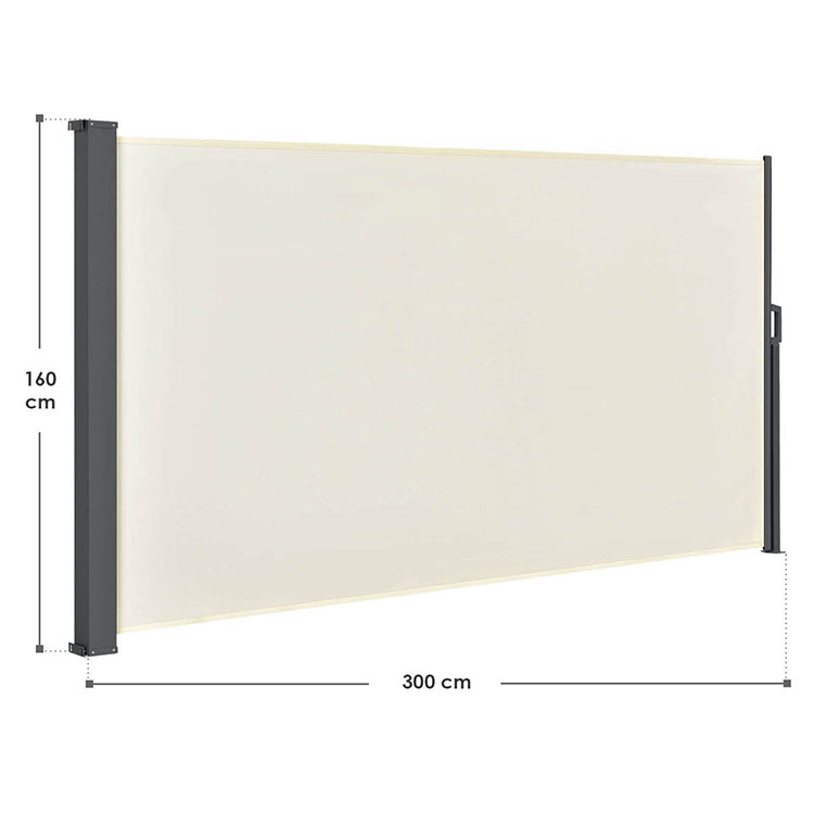 Abmessungen der Seitenmarkise Dubai in beige 160 x 300 cm von ArtLife