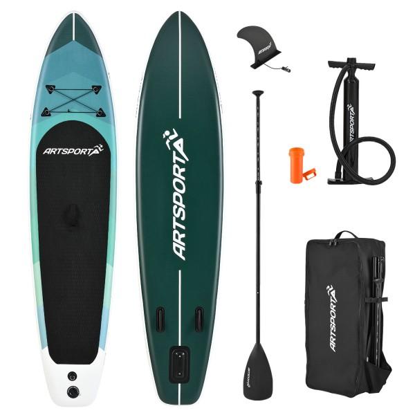 Stand Up Paddling Board Blue Wave aufblasbar mit Tasche & Zubehör