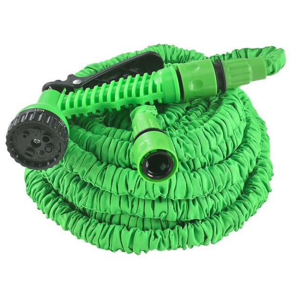 Flexibler Gartenschlauch Aqua 22,5m mit Multifunktionsbrause in grün