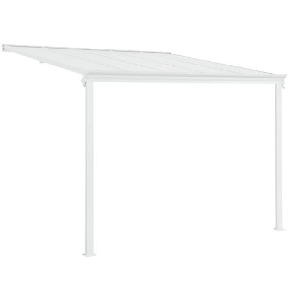 Aluminium Terrassendach Borneo 3x3m mit Doppelsteg-Platten weiß / transparent