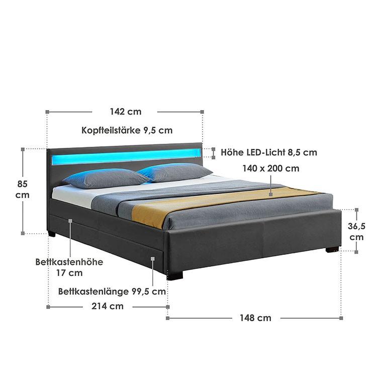 Abmessungsbild Polsterbett Lyon 140x200 cm dunkelgrau mit LED-Beleuchtung im Kopfteil, vier ausziehbaren Bettkästen und Lattenrost