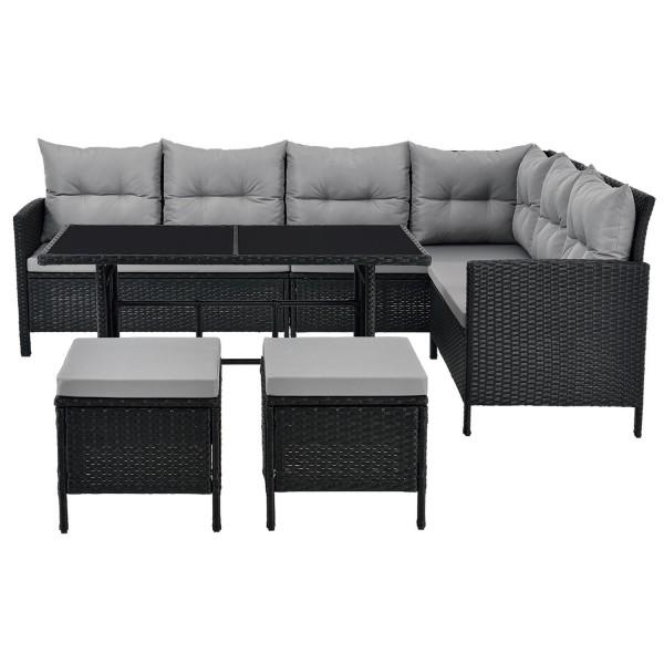 Polyrattan Gartenmöbel Lounge Manacor schwarz mit Bezügen in Dunkelgrau