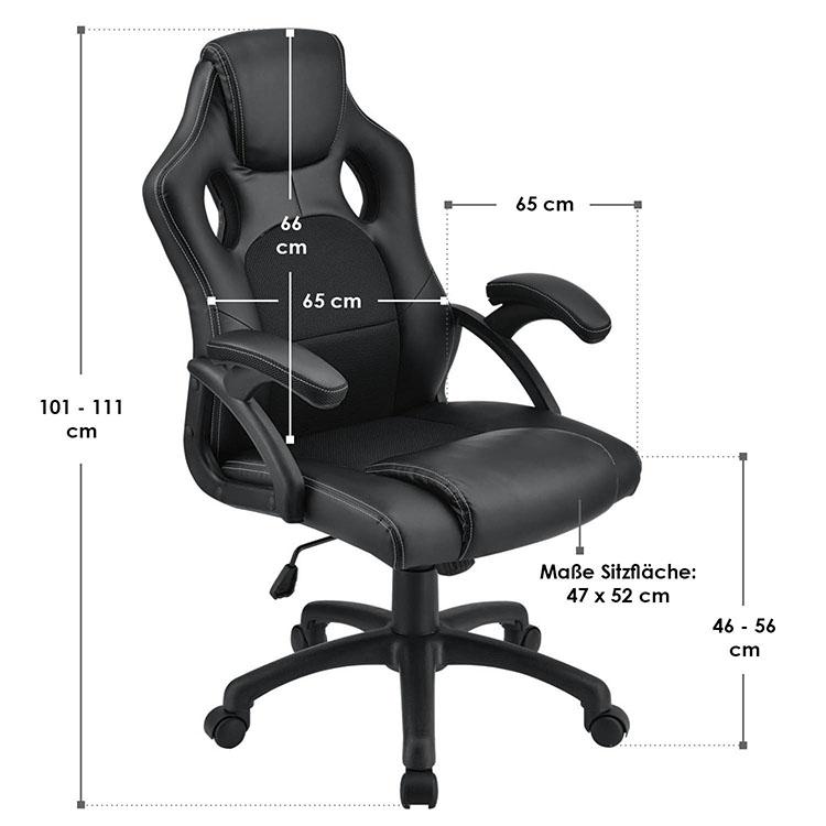 Racing Schreibtischstuhl Montreal - Schwarz - mit verstellbarer Rückenlehne, gepolsterten Armlehnen und höhenverstellbarer Sitzfläche