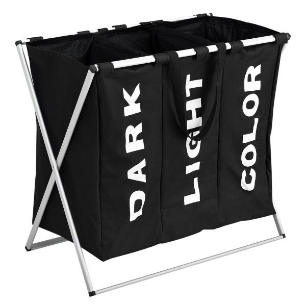 Wäschesammler W3S mit 3 Fächern in schwarz aus Aluminium